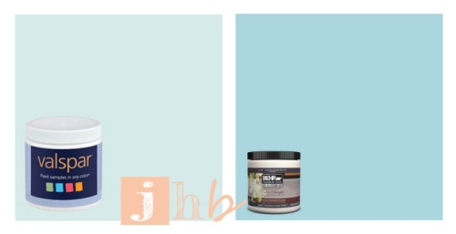 Valspar Fountain Mist and Behr Rapture Blue