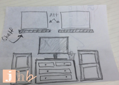 Sketch of media stand idea