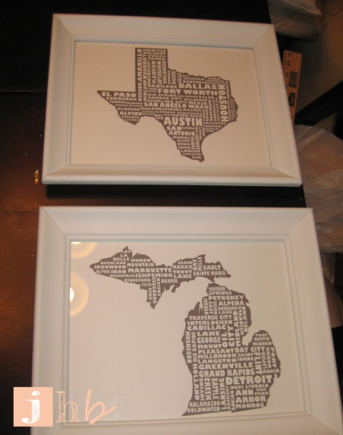 Framed Texas and Michigan Prints