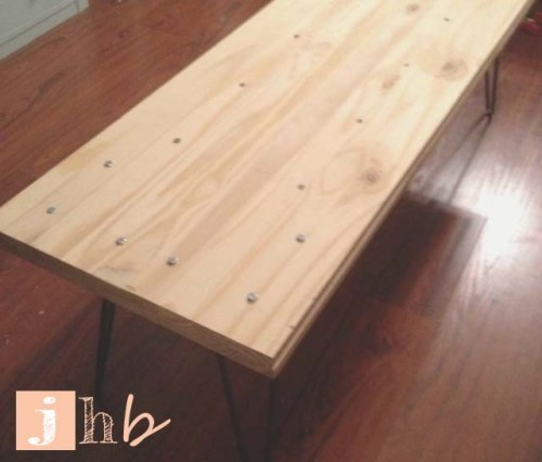 Hairpin Legs Bolted to Wood Planks