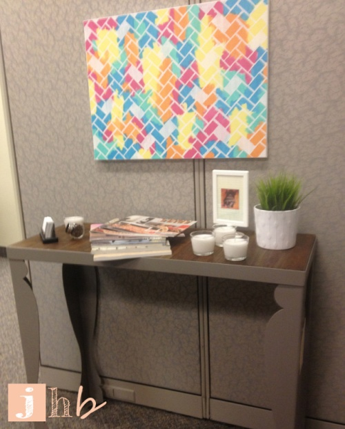 Herringbone Art in Cubicle