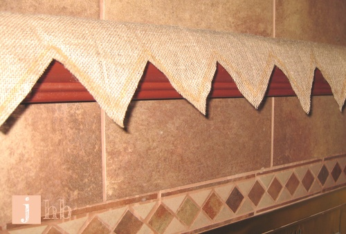 Burlap Cloth on Fireplace Mantel