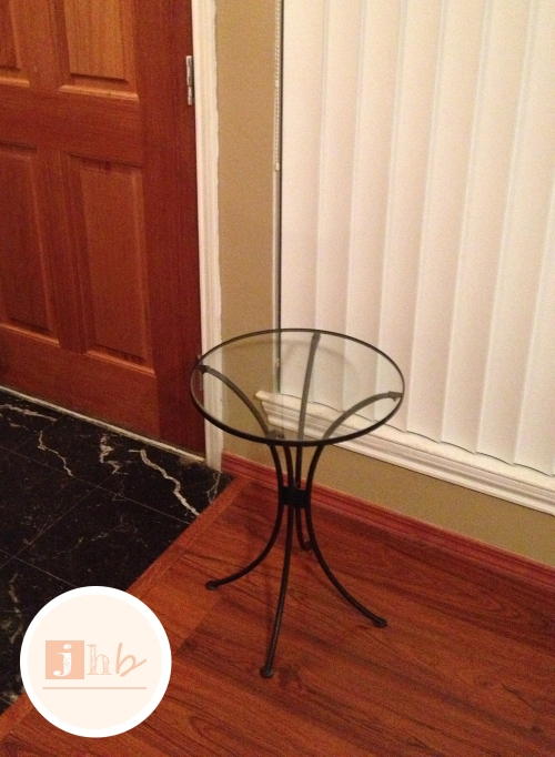 Before - Sad Little Glass Top Accent Table