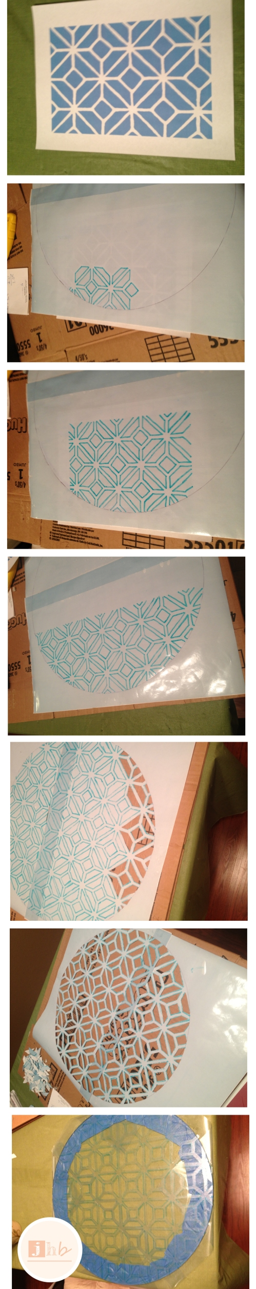 DIY Geometric Stenciled Table Top