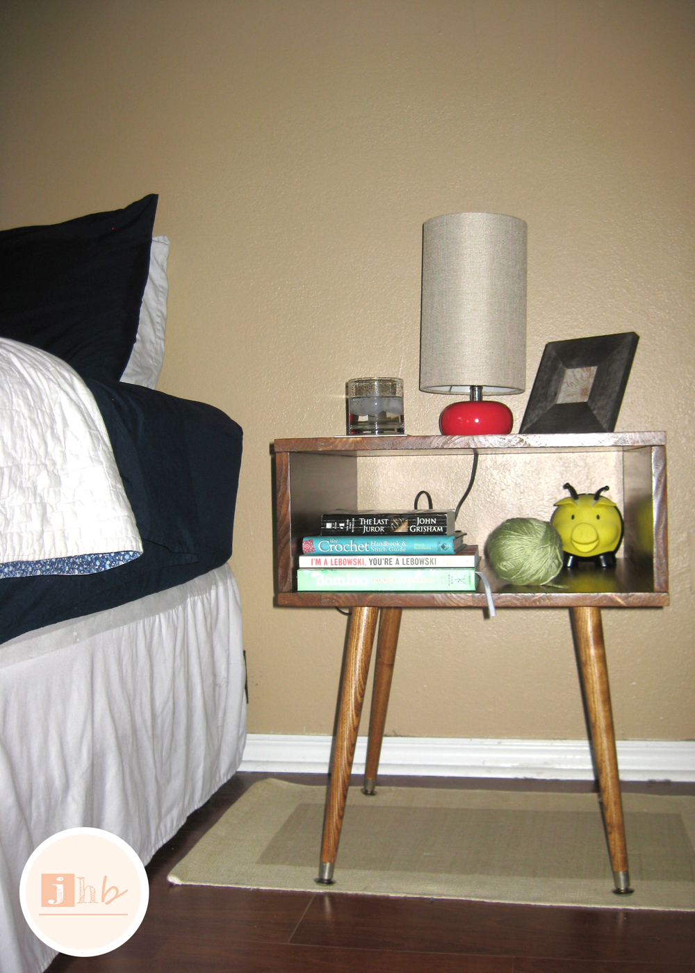 Diy mid century style nightstand jamie 39 s home blog for Diy bedroom lamp