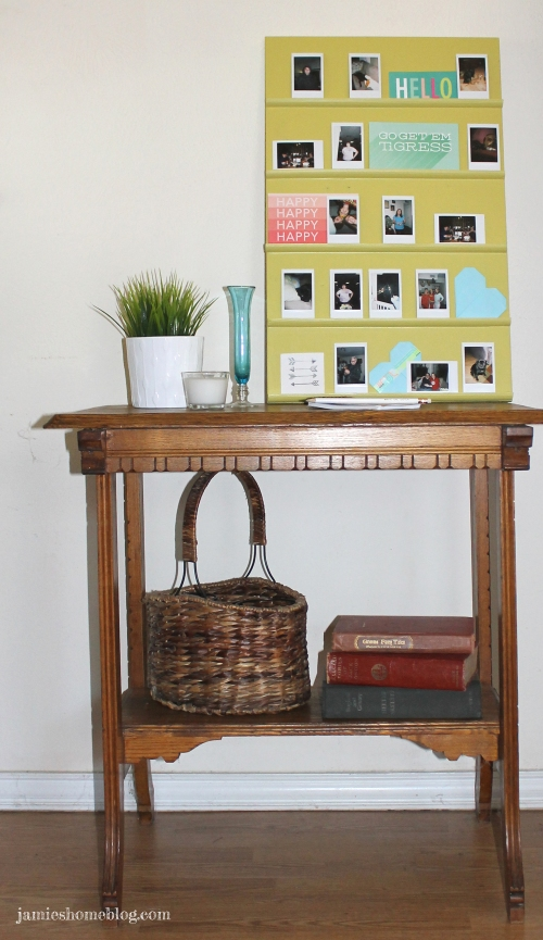 diy leaning photo display shelf for instax pics
