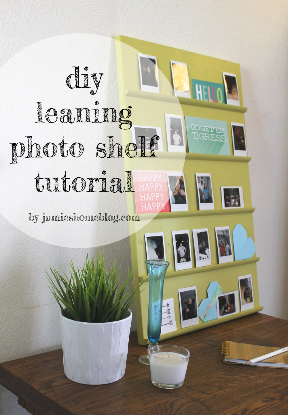 DIY Tabletop Leaning Shelf Photo Display | jamie's home blog