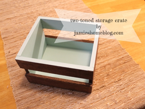 two tone bathroom storage crate