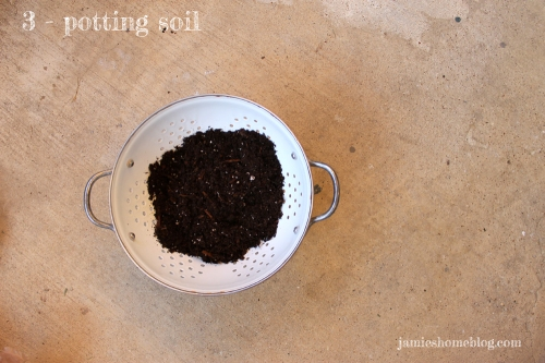 upcycle a colander into a planter