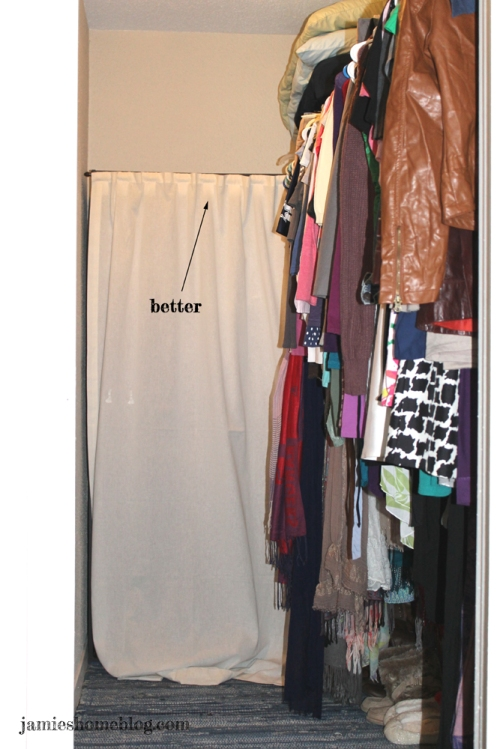 disguise ugly storage shelves with a curtain