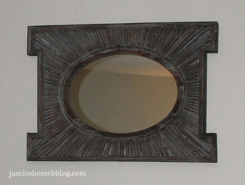 spray painted wood mirror