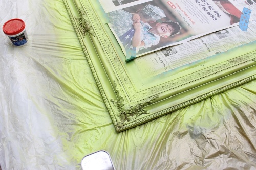 green spray painted ornate antique mirror